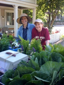 Sister Helena Marie and Suzanne this morning before the truck leaves for Farmer's Market