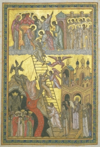 Ladder of Paradise, inspired by John Climacus (525-606), Russian manuscript page, 16th century