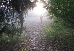 Bill on the path to St. Aidan's, photo by Sr. Catherine Grace