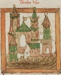 Noah's Ark with towers - the church? Jerusalem? c.1400-1500